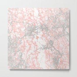 Modern blush pink gray stylish marble Metal Print
