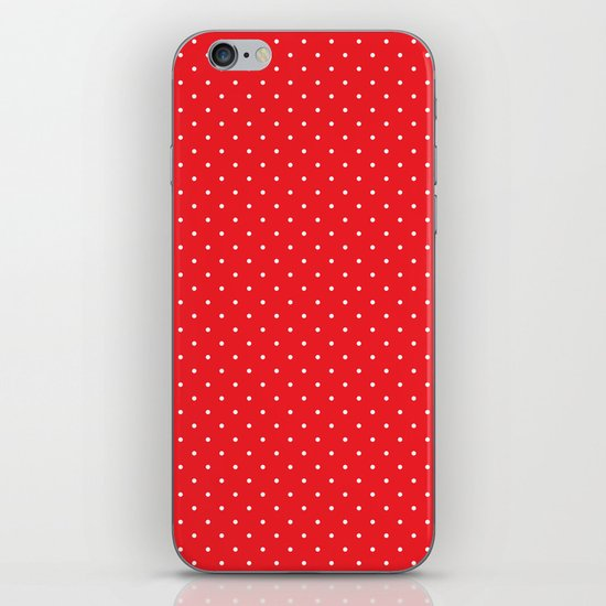 White polka dots on red iPhone & iPod Skin