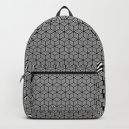 Isometric Weaved Cubes in Black and White Pattern - Graphic Design Backpack