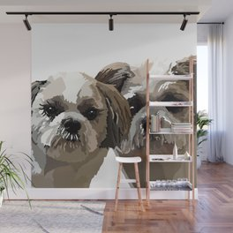 Frankie and Jessie the Shih Tzu dogs Wall Mural