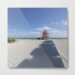 Lifeguard Station at South Beach Miami Metal Print