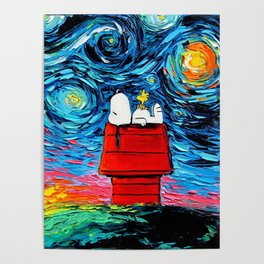 snoopy peanuts starry night Poster