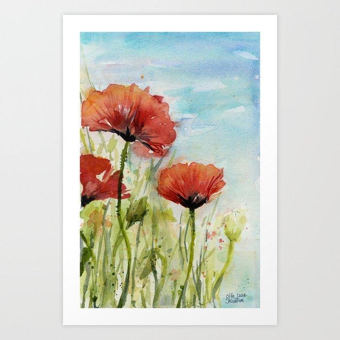 Red Flowers Watercolor Landscape Poppies Poppy Field Art Print