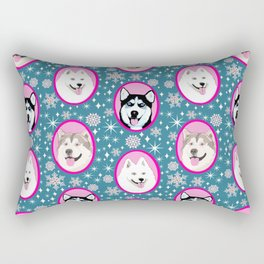 Husky, Samoyed, Malamute // Dog sled team// Year of the dog Rectangular Pillow