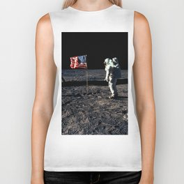 Buzz Aldrin and the U.S. Flag on the Moon Biker Tank