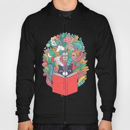 Cat reading a book. Hoody