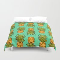 pineapples Duvet Covers featuring Pineapples by Stephanie Keir