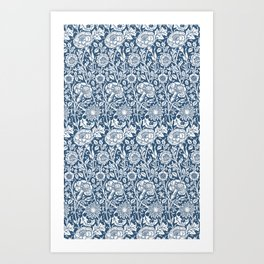 William Morris Navy Carnation Pattern Art Print