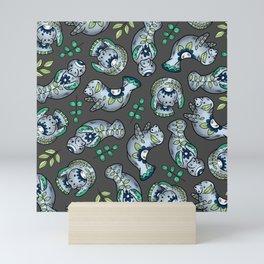 Majestic Folk Art Manatees - Pattern on Gray Mini Art Print
