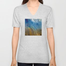 Raining Rivers of Sky: Abstract Painting Unisex V-Neck