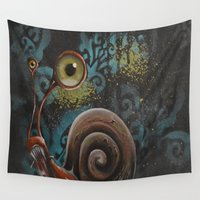 snail Wall Tapestries featuring Snail by Annelies202