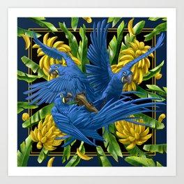 Hyacinth Macaws and bananas Stravaganza (black background). Art Print