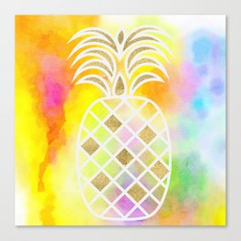 Watercolor and Gold Pineapple Canvas Print