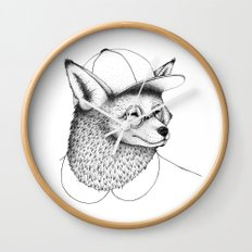 Hipster Fox Wall Clock