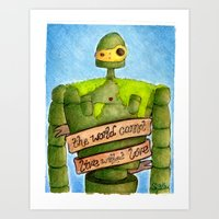 laputa Art Prints featuring LAPUTA: CASTLE IN THE SKY Illustration: ROBOT by  Siân Brierley