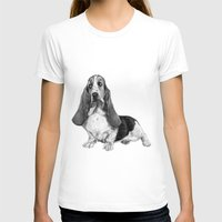 the hound T-shirts featuring Basset Hound by Danguole Serstinskaja