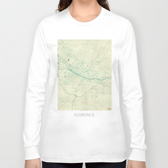 Florence Map Blue Vintage Long Sleeve T-shirt