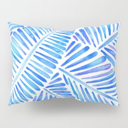 Tropical Banana Leaves – Blue Palette Pillow Sham
