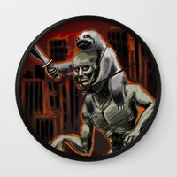 sloths Wall Clocks featuring Planet Of The Sloths by Chris Moet