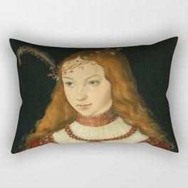 "Lucas Cranach the Elder ""Portrait of Princess Sibylle of Cleve"" Rectangular Pillow"