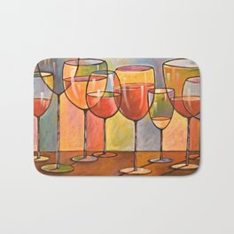 Whites and Reds ... abstract wine glass art, kitchen bar prints Bath Mat