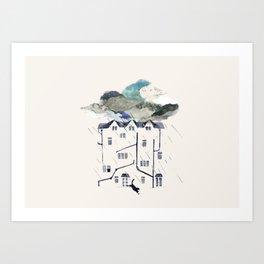 Rainy in the back yard Art Print