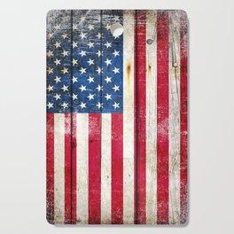 Vintage American Flag On Old Barn Wood Cutting Board