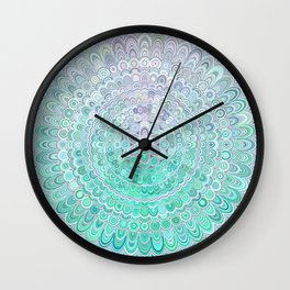 Turquoise Ice Flower Mandala Wall Clock