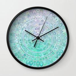 Turquoise Ice Flower Mandala Wall Clock