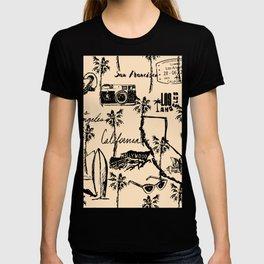 Vintage Beige and Black Los Angeles California Travel Landmark T-shirt