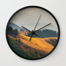 Parallax Landscape Rolling Hills Photo Nature In Morning Sunlight Wall Clock