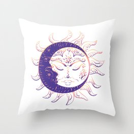 Modern tattoo of sleeping sun and crescent moon design. Throw Pillow