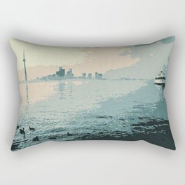 Toronto harbour as seen in 1980 Rectangular Pillow