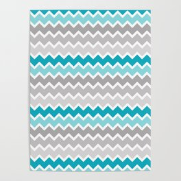 Turquoise Teal Blue Gray Chevron Poster