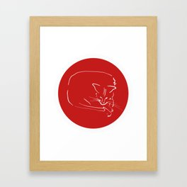 Relaxing Cat in red circle Framed Art Print
