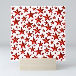 funny, stars, laugh, face, cheerful, red, shiny, xmas, smiley, Mini Art Print