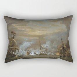 Willem van de Velde the Younger - The Battle of the Texel, 11-21 August 1673 Rectangular Pillow