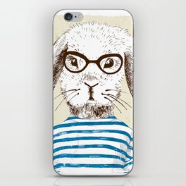 Hipster Rabit with Style iPhone Skin