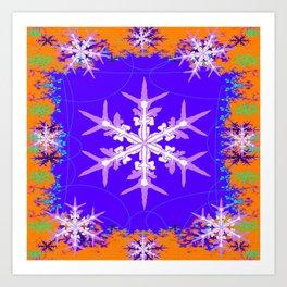 Purple Snowflake Modern Art Abstract Art Print
