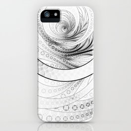 White on Black Circular Fractal of a Jinbaori Samurai Symbol iPhone Case