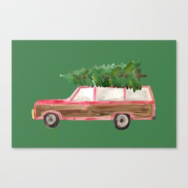 watercolor christmas tree woody wagon green Canvas Print