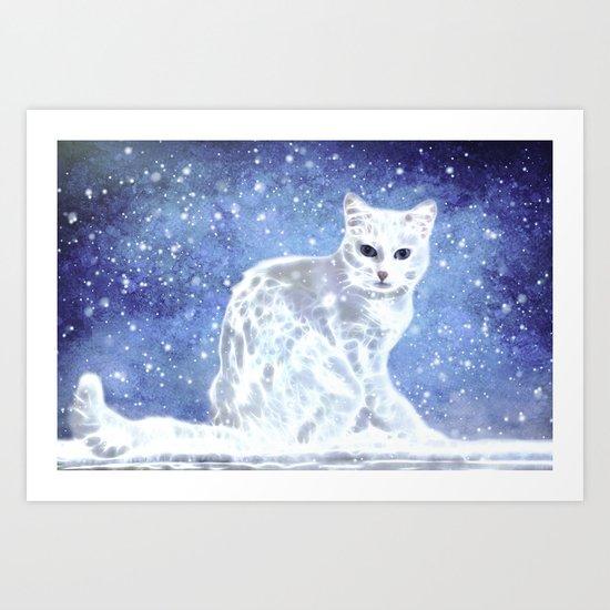 Abstract white cat Art Print