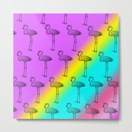 Flamingo Pastel Rainbow Metal Print