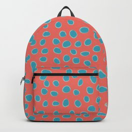Living Coral and Turquoise, Teal Polka Dots Backpack