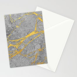 Grey Marble and Gold Stationery Cards