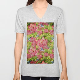 Floral Lotus Flowers Pattern with Dragonfly Unisex V-Neck