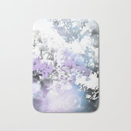 Watercolor Floral Lavender Teal Gray Bath Mat