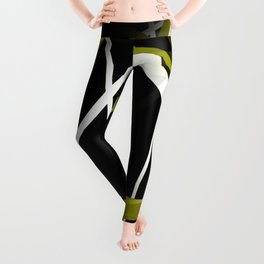 Seamless Olive Green and White Stripes on A Black Background Leggings