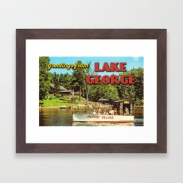 Vintage Lake George Postcard Framed Art Print