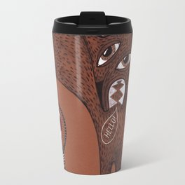 friendly monster says hello to the surreal eye Travel Mug